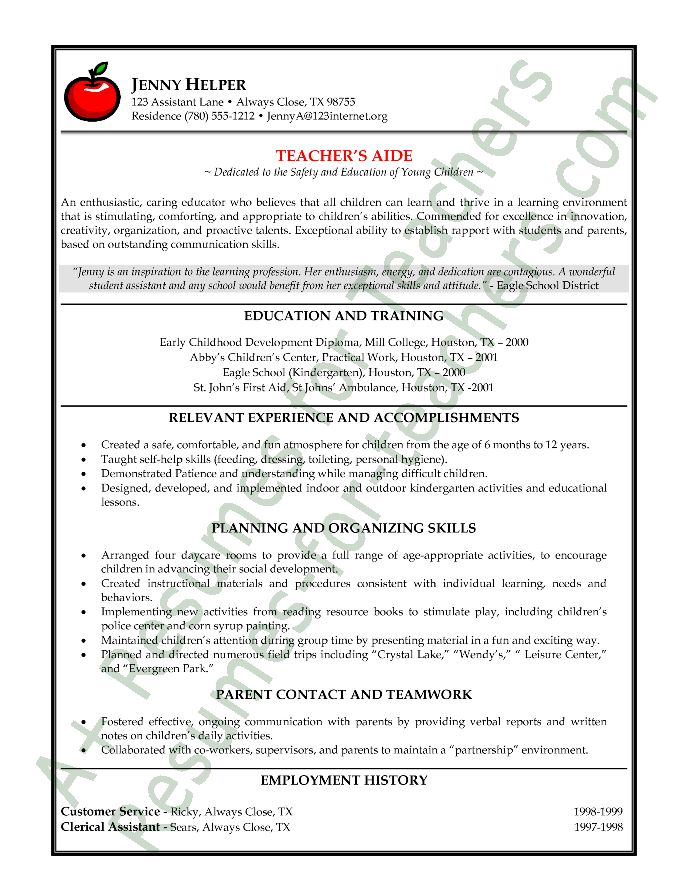 Teachers Resume Free Examples | Teacher Resume Free Sample How To Resume  Sample Resume Example Sample