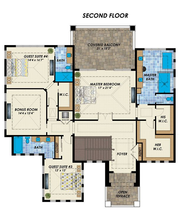 florida mediterranean house plan 71537 level two - Level Two Floor House Plans