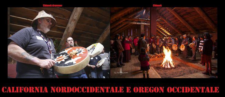 Tamburi a cornice dei Chinook con una sola superfice. Le danze rituali erano accompagnate principalmente da strumenti a percussione (tamburi, sonagli). I tamburi, erano principalmente del tipo a cornice con una o 2 membrane.