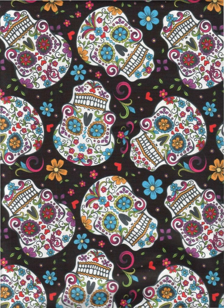 Sugar Skull Cotton Fabric by the Yard. by JinsQualityFabric on Etsy
