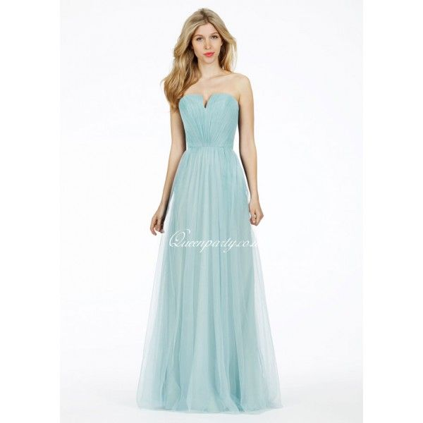 2015 Sky Blue Tulle Floor Length Bridesmaid Gown With Gathered Bodice