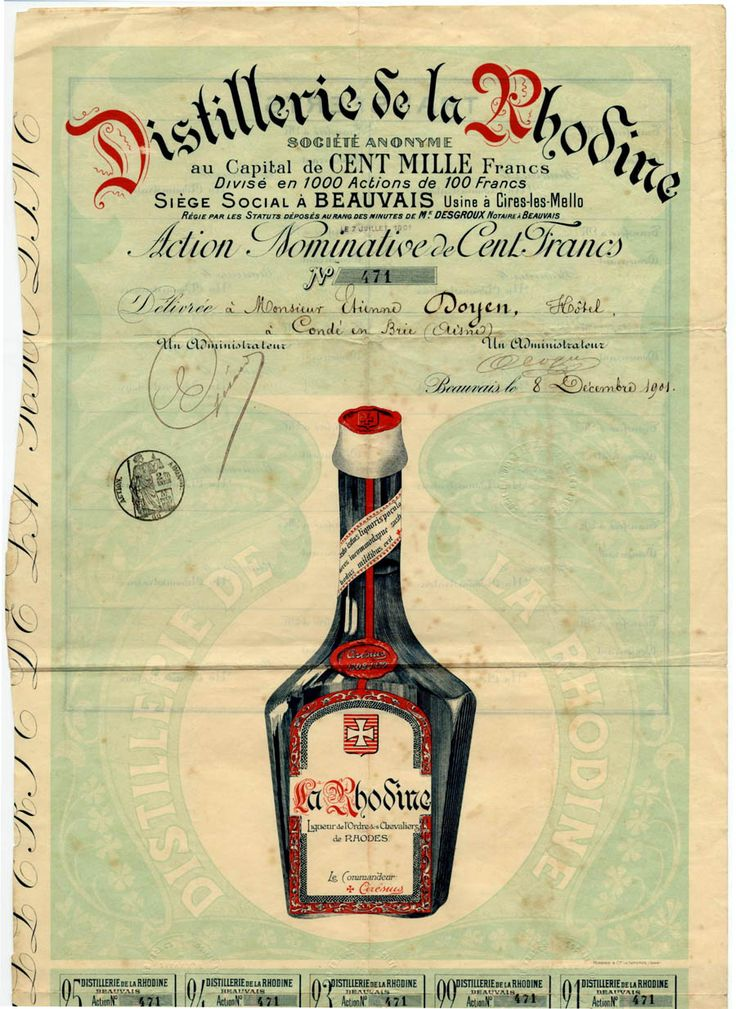 DISTILLERIE DE LA RHODINE SOCIETE ANONYME Namens-Aktie über Frcs. 100; # 471; eingetragen auf Monsieur Etienne Doyen, Hotel a Conde en Brie (Oisne); Beauvais, 8. Dezember 1901