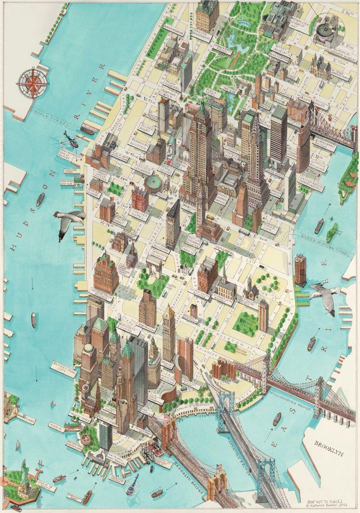 Foto: New York Map. Mapa de la isla de Manhattan (Nueva York)