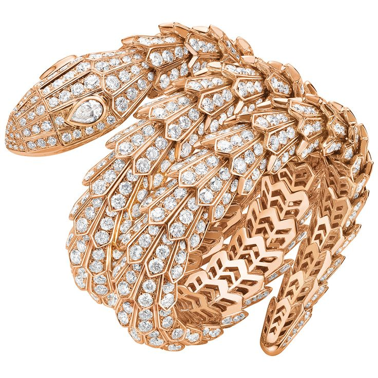 Bulgari Serpenti gold and diamond bracelet that is highly flexible and can be stretched open to slip over the wrist, the result of a marriage of clever engineering and painstaking work.
