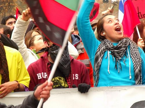Estudiantes chilenas manifestando Etdudiantes chilennes lors d'une manifestation. Chili