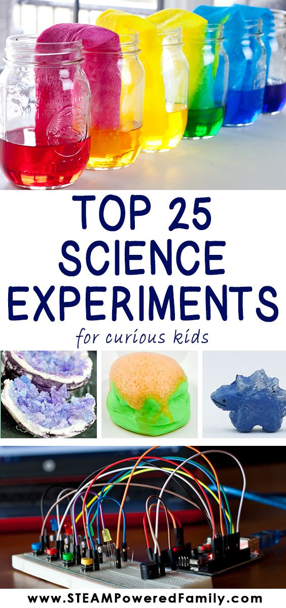 Top 25 Science Experiments that the whole family will love!  Great for rainy days or cold snow days! #scienceforkids #STEAMforkids