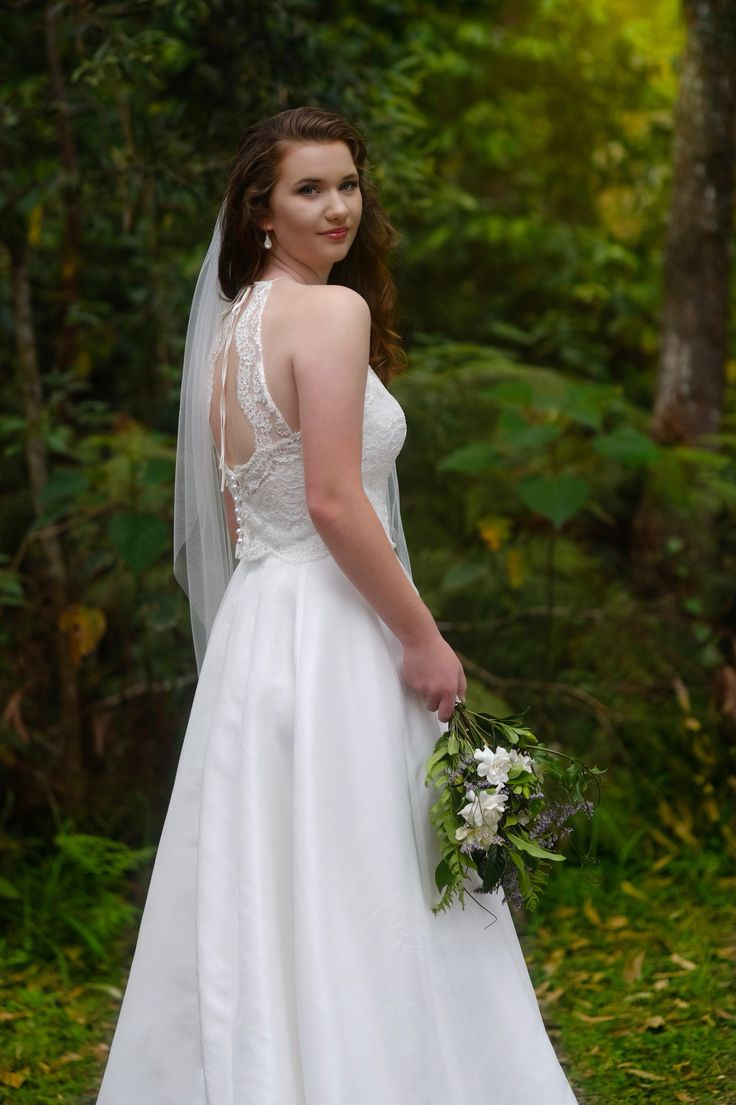 Beautiful back Bridal gown from Melanie Jaynes 2017 Bridal gown collection, silk and lace two piece gown, made by Melanie Jayne Australia