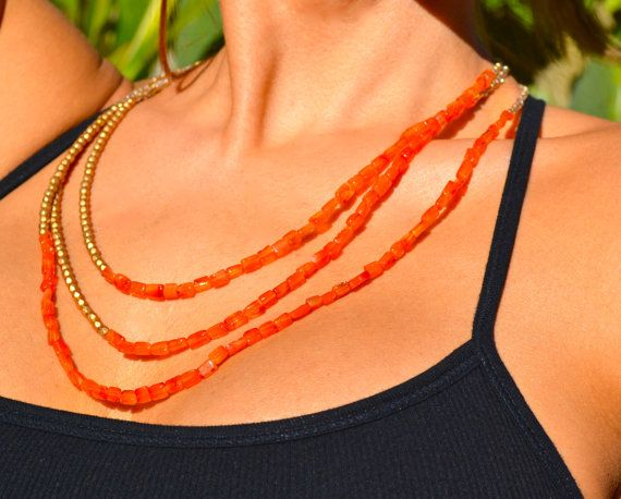 Triple Strand Asymmetrical Beaded Carnelian by uniquebeadingbyme
