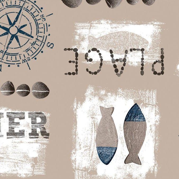 Tafelzeil Plage Blauw - Tafelzeil met maritiem print van vissen, kompassen en stenen in blauw. Het tafelzeil valt soepel om de tafel en is gemakkelijk schoon te vegen met een vochtige doek. De bovenkant is gemaakt van pvc en de onderkant is een ongeweven vliesrug. Kies de lengte in het menu en we maken het tafelkleed voor u op lengte!