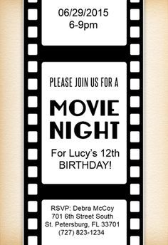 free movie party invitation template