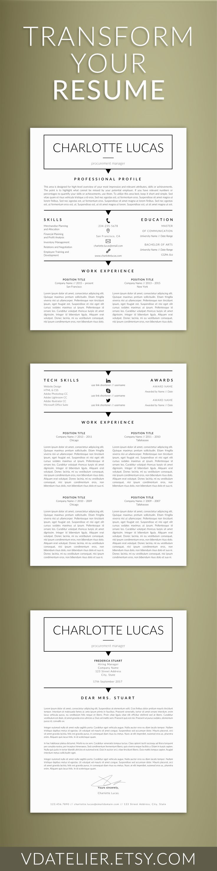 Minimalist Resume for MS Word | CV Clean, Printable Resume | CV Template, Modern Man Resume | 1, 2, 3 Page Resume | Cover Letter & References
