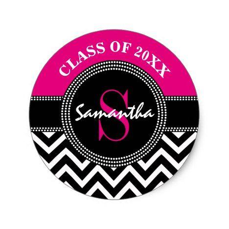 Graduation Chevron Monogram Hot Pink and Black Classic Round Sticker #chevron #craft #supplies