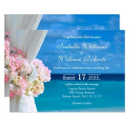 Elegant Floral Blue Ocean Beach Summer Wedding Card - wedding invitations diy cyo special idea personalize card