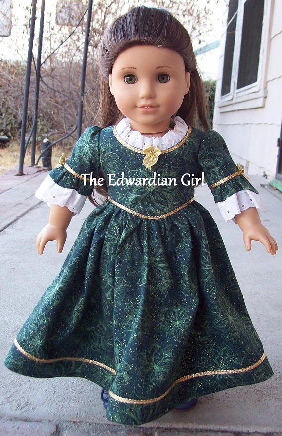 OOAK Christmas green gold pointsetta 1770s Colonial day dress. Fits ...
