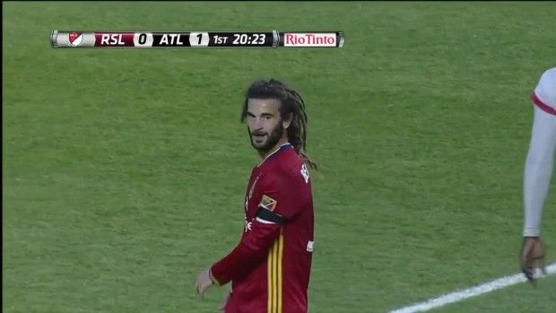 #MLS  YELLOW CARD: Kyle Beckerman is given a card for handling