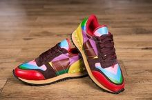 2015 spring fashion Valentine rivet sneaker rainbow  man and woman unisex sports casual shoes genuine leather shoes lovers shoes