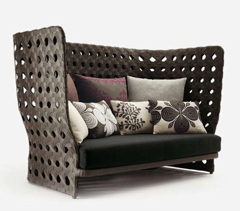 vienna straw high back loveseat sofa canasta woven. Black Bedroom Furniture Sets. Home Design Ideas