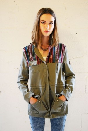 Bellfield women's military jacket with embroidered aztec shoulder panel detail, the perfect festival coat