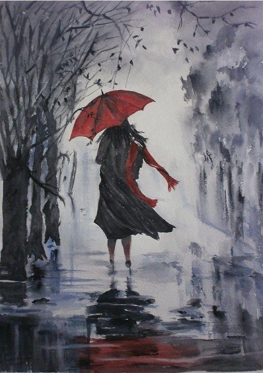 Les 25 meilleures id es concernant parapluie rouge sur for Peintures en noir et blanc