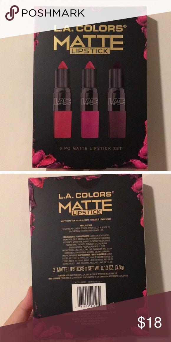 L.A Colors Matte Lipstick Set Makeup L.A Colors Matte Lipstick Set. Brand New. 3 Lipstick Set. Smoke Free Home. L.A Colors Makeup Lipstick #colorfulmakeup