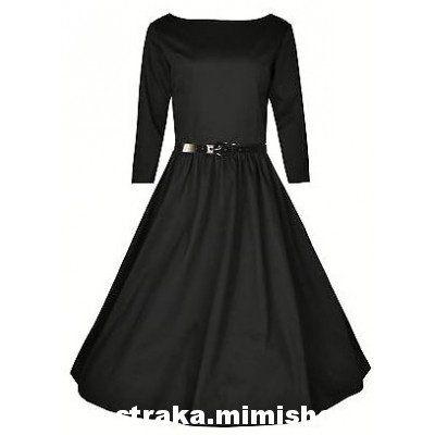 Retro šaty ve stylu 50. let. nádherné šaty v klasické černé, pásek, skvěle padnoucí střih.