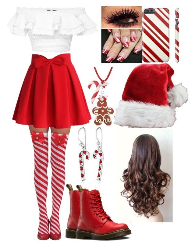 """""""Featured Item: Candy Cane Stockings"""" by kiara-fleming ❤ liked on Polyvore featuring Chicwish, Alexander McQueen, Dr. Martens and Dolci Gioie"""