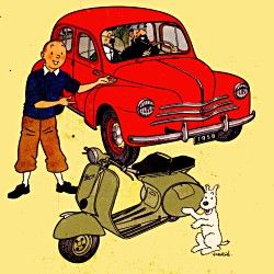 The Renault 4CV and Vespa // pretty sure this is an advert but it's still cute