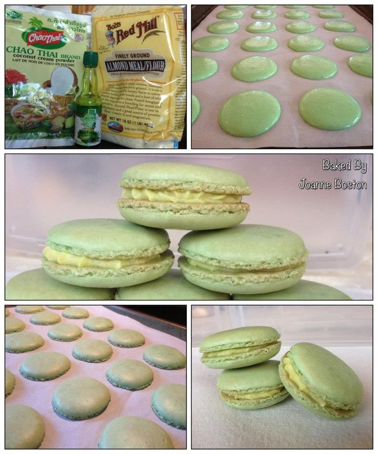 Pandan flavored french macarons