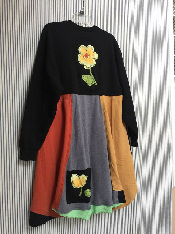 Artsy Upcycled Colorful Patchwork Clothing Oversized Loose Fit Sweatshirt Dress I added Appliqué Daisy Flowers to the back and to the Pockets Wearable Art. 2 Big Pockets Black sweatshirt Dress with Group Therapy Bling Embellishments Easy to throw on with Leggings and go! Fits Size