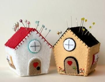 Cottage Pincushion. but these would make cute christmas ornaments
