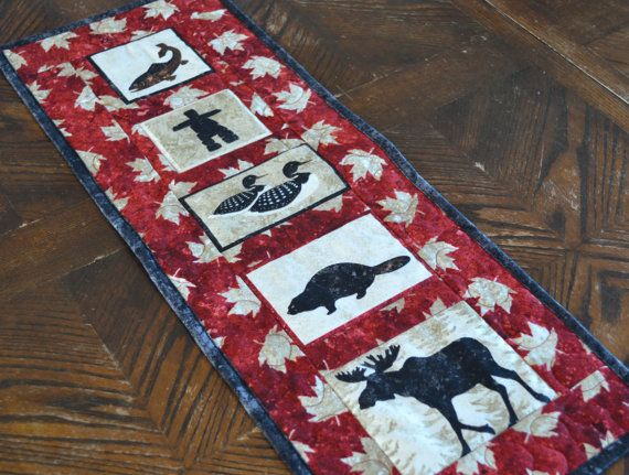 Canadian Art Quilt Wall Hanging Moose Beaver Loon