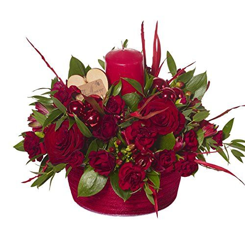 The Flower Rooms - Christmas Table Centre Candle - Fresh Flowers Delivered - No Relay Service, Flowers Made