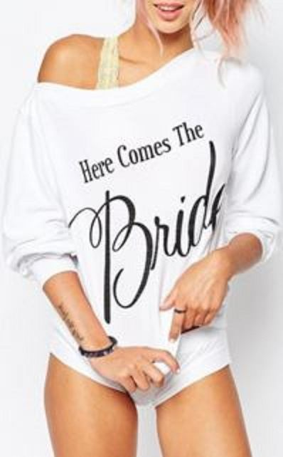 Fun and Flirty White Bride Sweatshirt! Fashionable Here comes the Bride Scoop Neck Long Sleeve Letter Pattern Women's Sweatshirt #Fun #Flirty #Here_Comes_the_Bride #White #Sweatshirt #Unique #Bridal #Shower #Gift #Ideas
