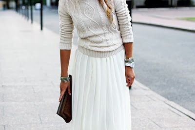 Skirt jumper: Style, Winter White, Long Skirts, Outfit, Knits Sweaters, Pleated Skirts, White Skirts, Maxi Skirts, Cable Knits