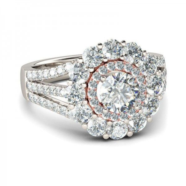 Jeulia Double Halo Round Cut Created White Sapphire Engagement Ring