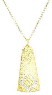 Gargantilha folheada a ouro e pingente em forma de sino c/ aplique de prata-Clique para maiores detalhes