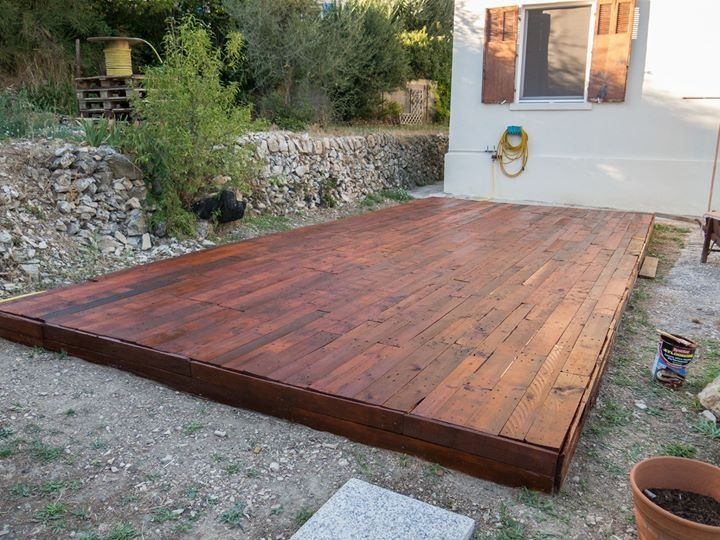 A pallet deck upcycled pallets pinterest decks and for Garden decking ideas pinterest