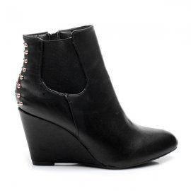 Čierne topánky na plnom opätku AJ-310B /S2-79P