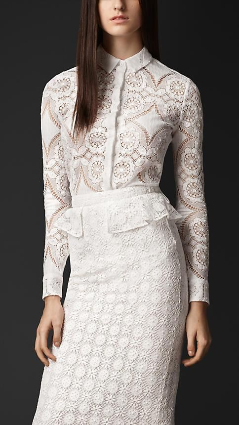 Burberry Prorsum English Lace Fitted Shirt