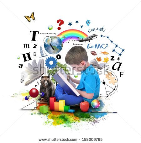 A young boy is reading a book with school icons such as math formulas, animals…