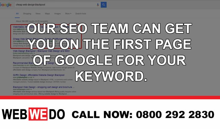 Are you looking for more visitors to your website? Maybe your website isn't featured on the first page of Google? If so, you may be losing out on potential customers. Sign up to our local SEO plan today from £75 per month and be ahead of your competitors. Call our Blackpool SEO team now on 0800 292 2830. Alternatively, please visit http://www.webwedo.co.uk/seo-services/ | ‪#‎webdesignblackpool‬ ‪#‎SEO‬