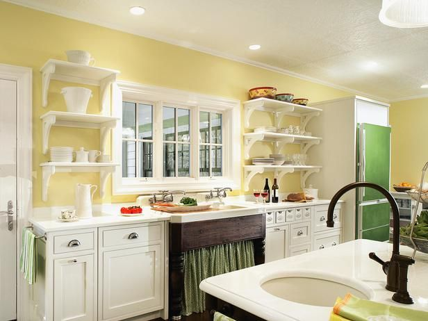 Yellow open shelving kitchen design