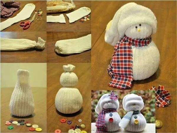 Sock snowman,  easy, low cost.