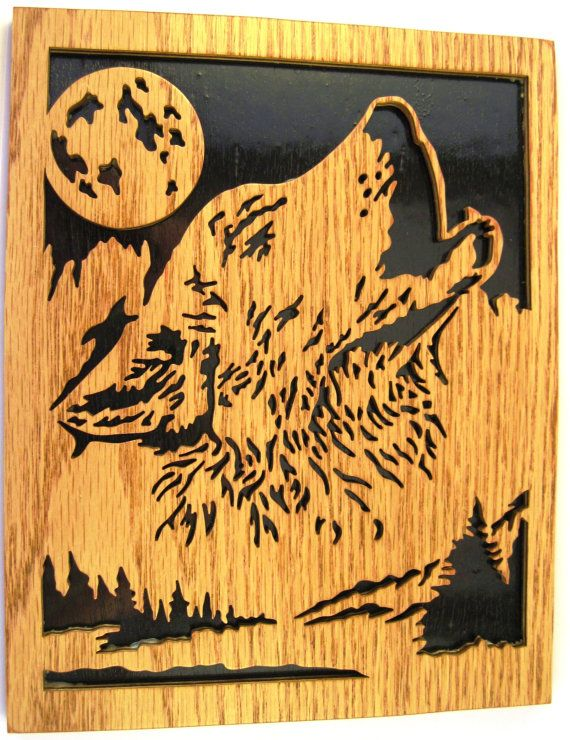 Scroll saw cut wolf howling at the moon2wo by ScrollSawTreasures | Ideas siluetas | Pinterest ...