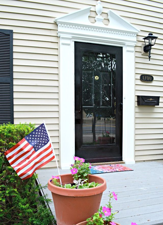 Diy front porch makeover painted storm door to match for Front entrance storm doors