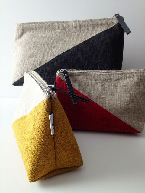 linen cosmetic bags:: perfect for the #beachbag or for summer #traveling. #BHGSummer #organizing