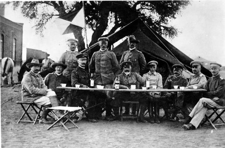 """Lieutenant General Lothar von Trotha, the Oberbefehlshaber (Supreme Commander) of the """"protection force"""" in German South-West Africa, in Keetmanshoop during the Herero uprising, 1904. (Wikipedia)"""