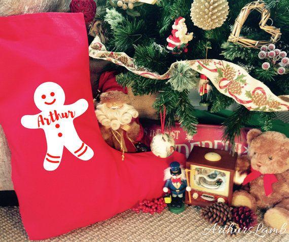 Gingerbread Man Christmas Stocking,Personalized Christmas Stockings,Personalised Christmas Stocking,Personalised Stocking,Large Stocking,Red
