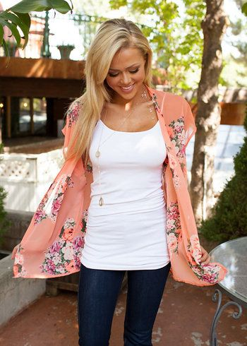 Online boutique. Best outfits. Uptown Girl Kimono Peach - Modern Vintage Boutique
