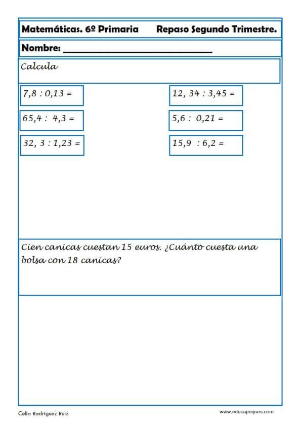 30 Fichas De Matematicas Para Sexto De Primaria Fichas De